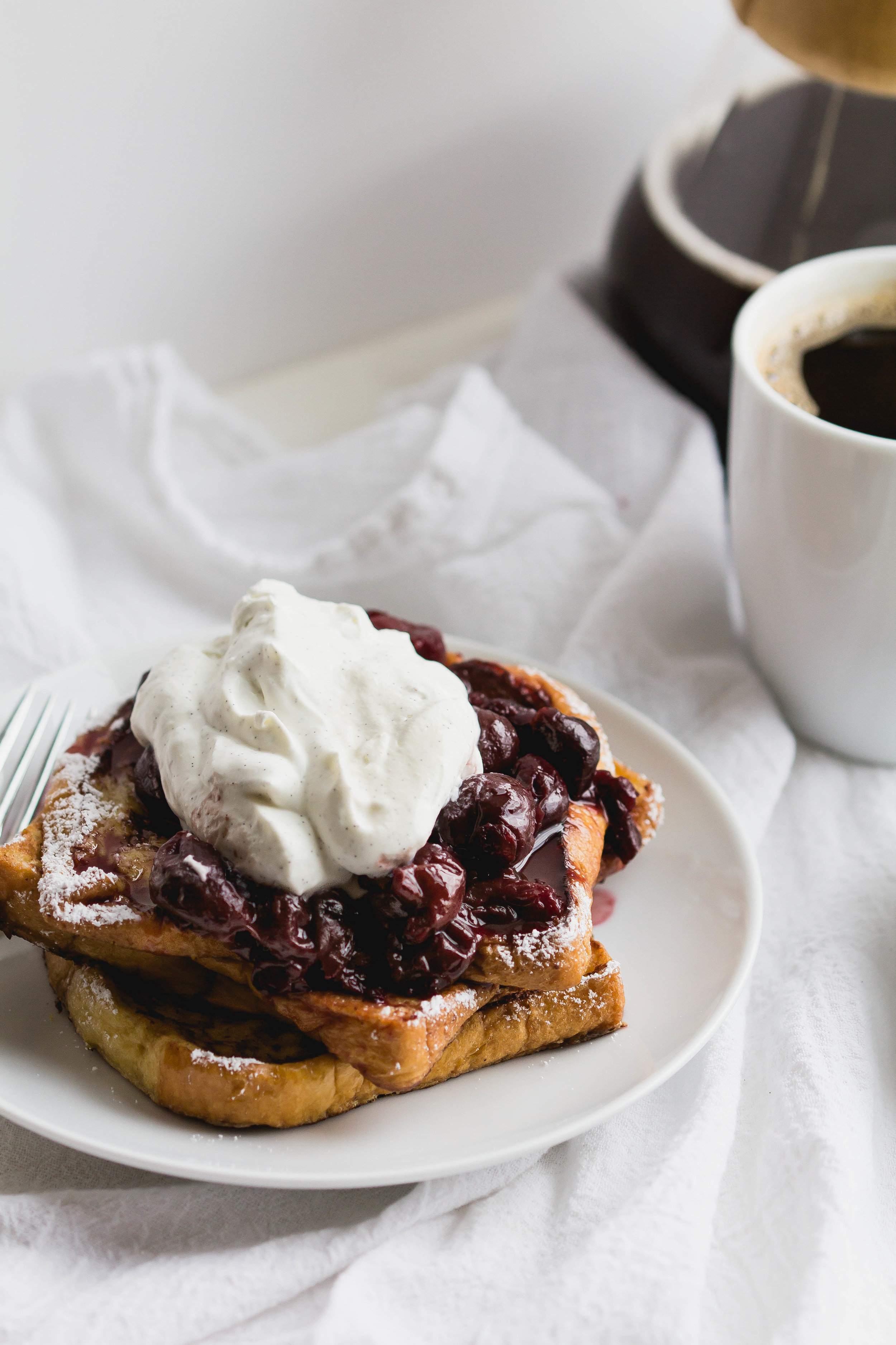 French Toast with Cherry Compote + Vanilla Bean Whipped Cream #breakfast #brunch #frenchtoast