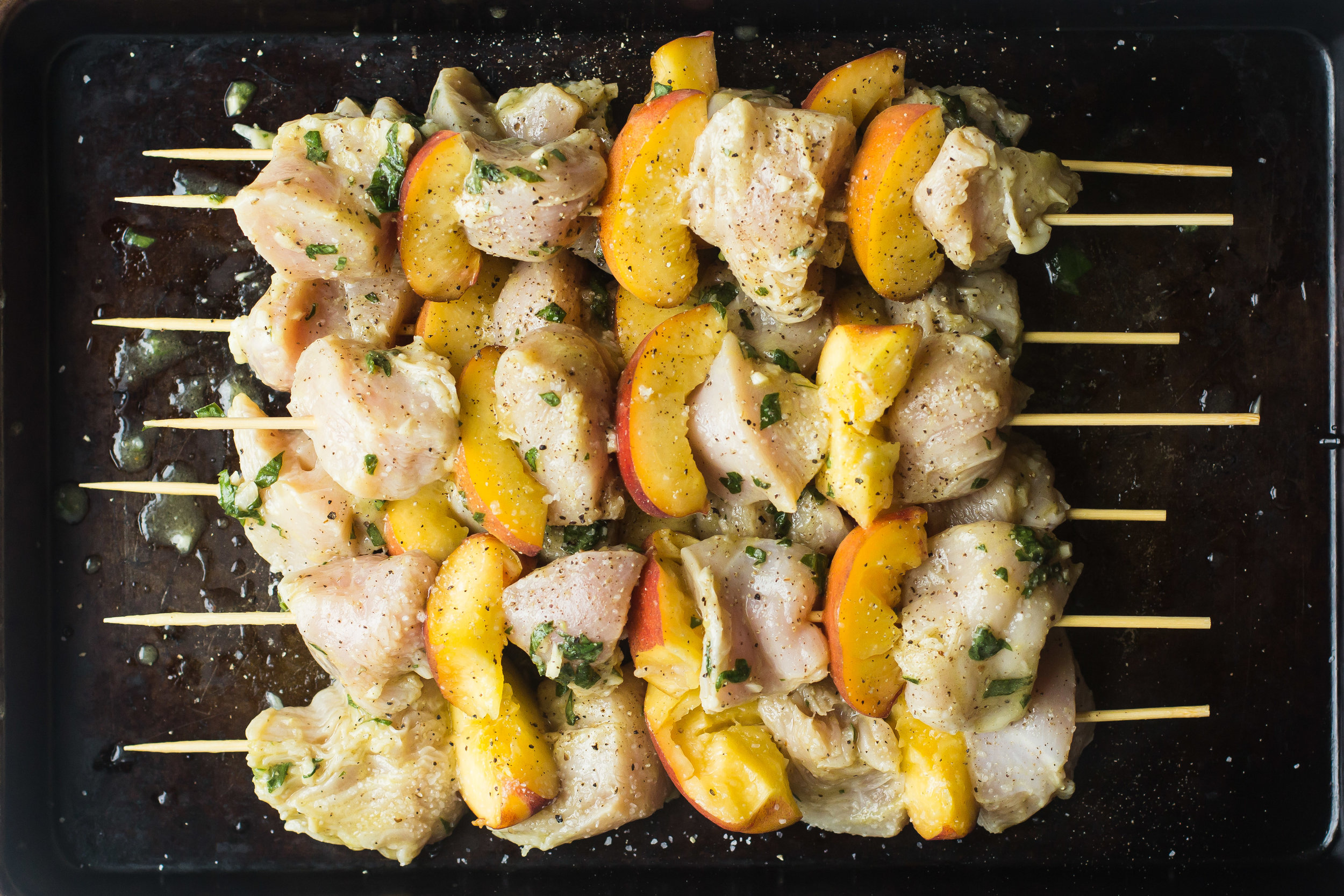 Chicken + Peach Skewers with Lemon-Basil Dressing [and how sometimes, we get it wrong]