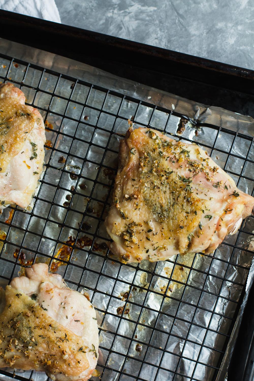 Crispy Baked Chicken Thighs with Lemon + Garlic | Sarah J. Hauser