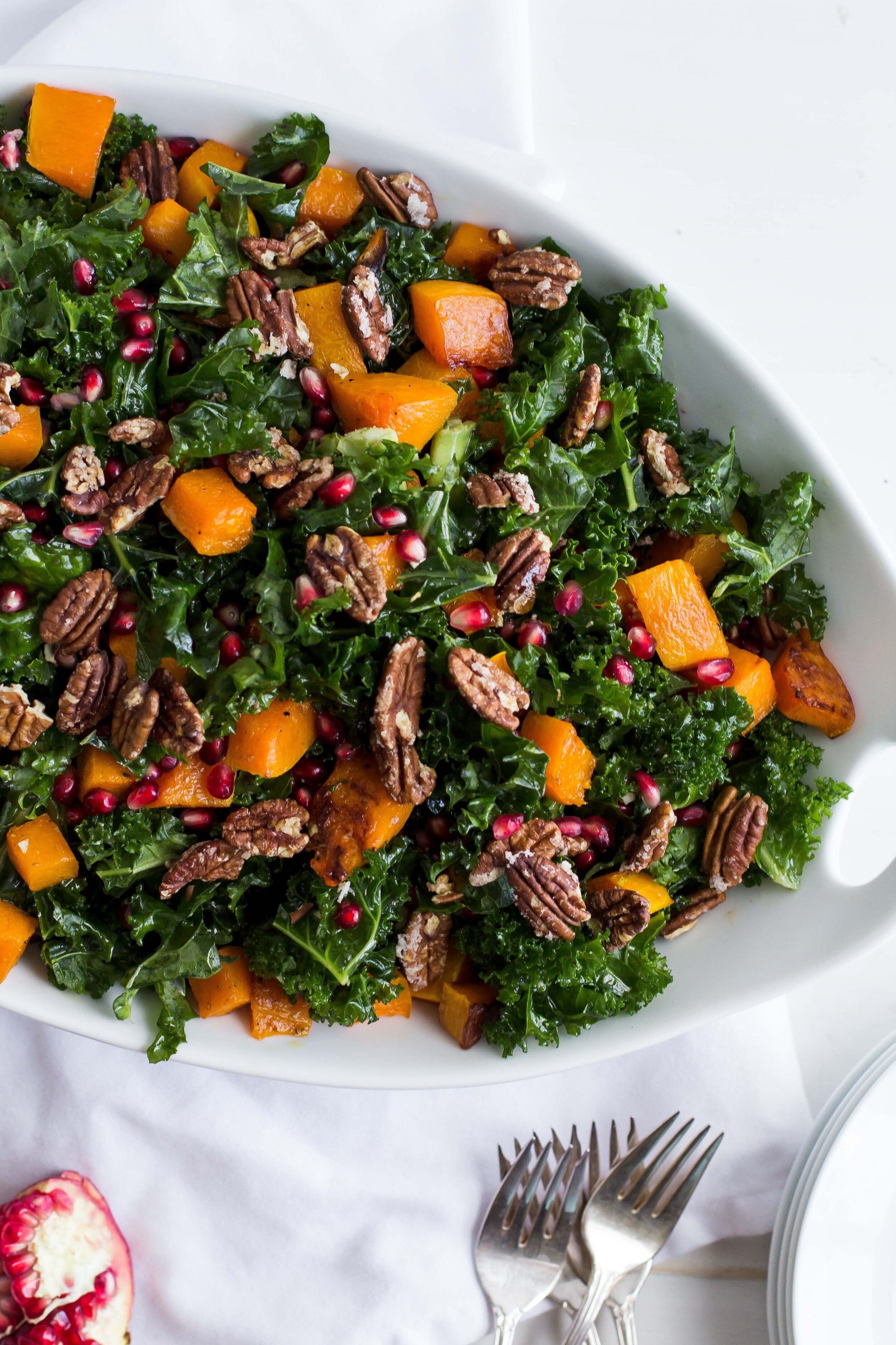 Roasted Squash + Kale Salad with Maple-Dijon Vinaigrette | Sarah J. Hauser #fall #salad #butternutsquash
