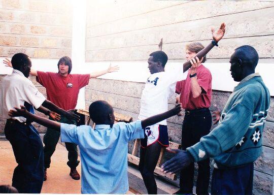 The Whartons at Paul Tergat's home in Kenya