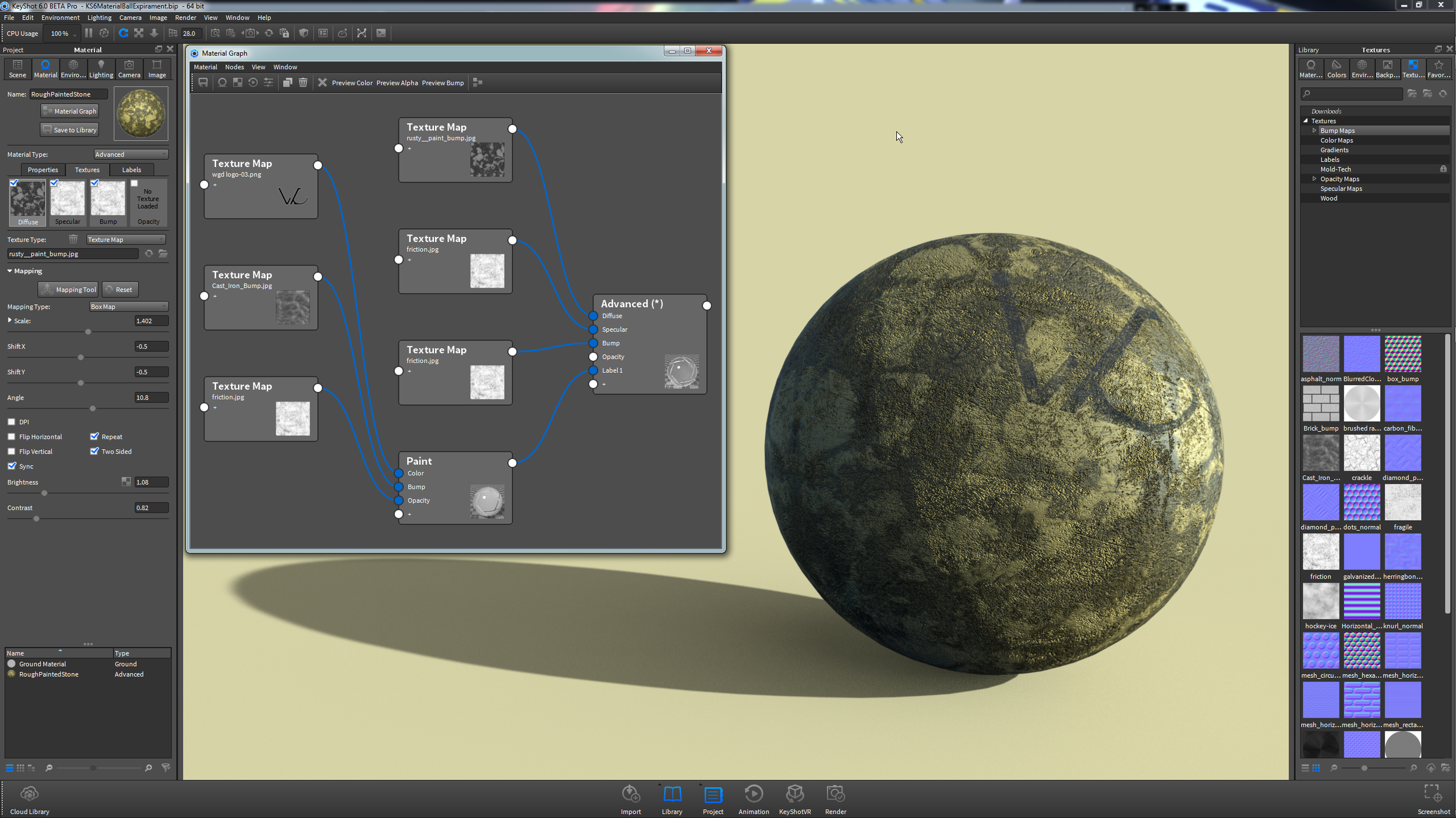 Above is the a screenshot of my workspace and the material graph and its result on a sphere in KeyShot 6.