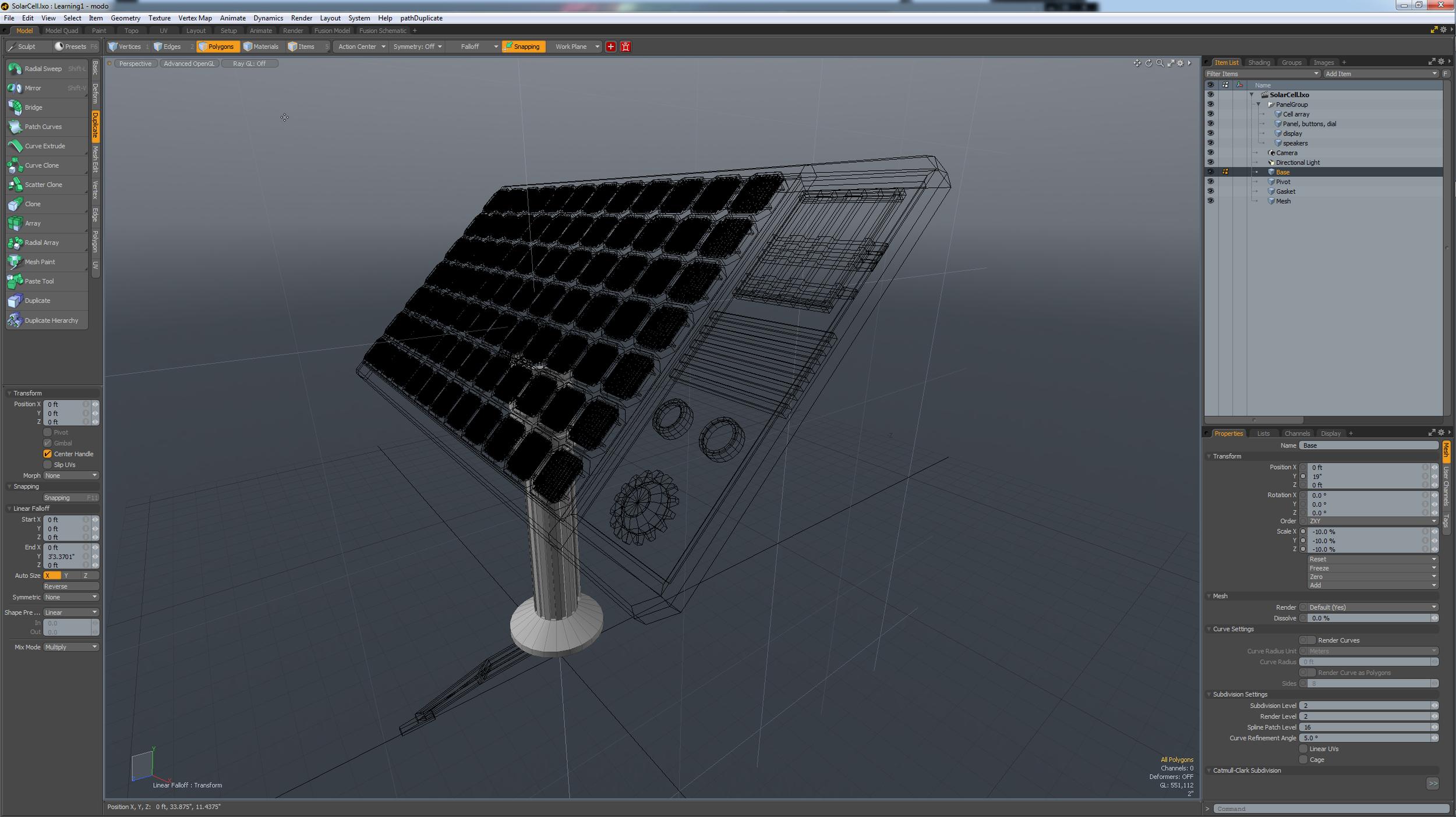 Modeling the solar panel in MODO 701