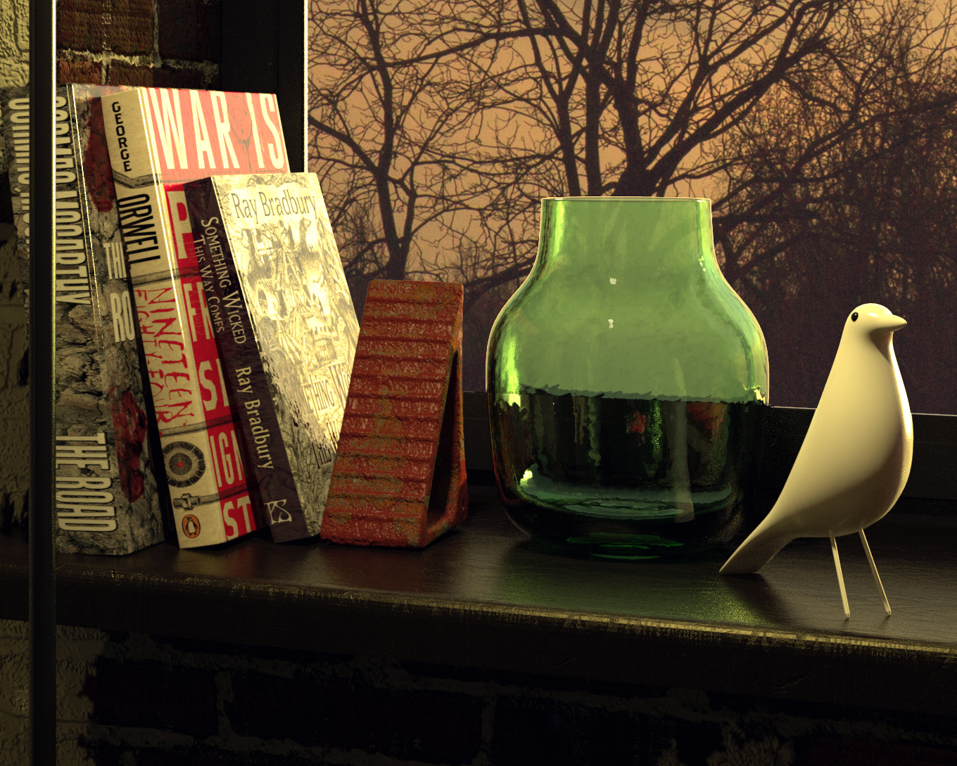 Close-up of windowsill (before I applied Depth of field)