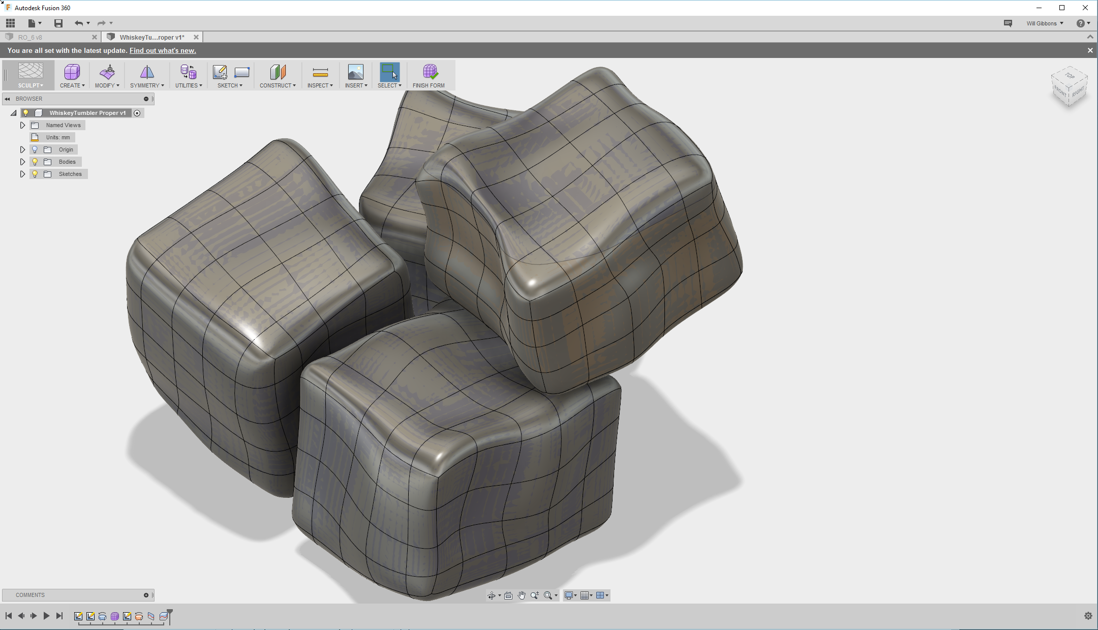 These ice cubes were quickly and easily modeled using Fusion 360's sculpt tools.