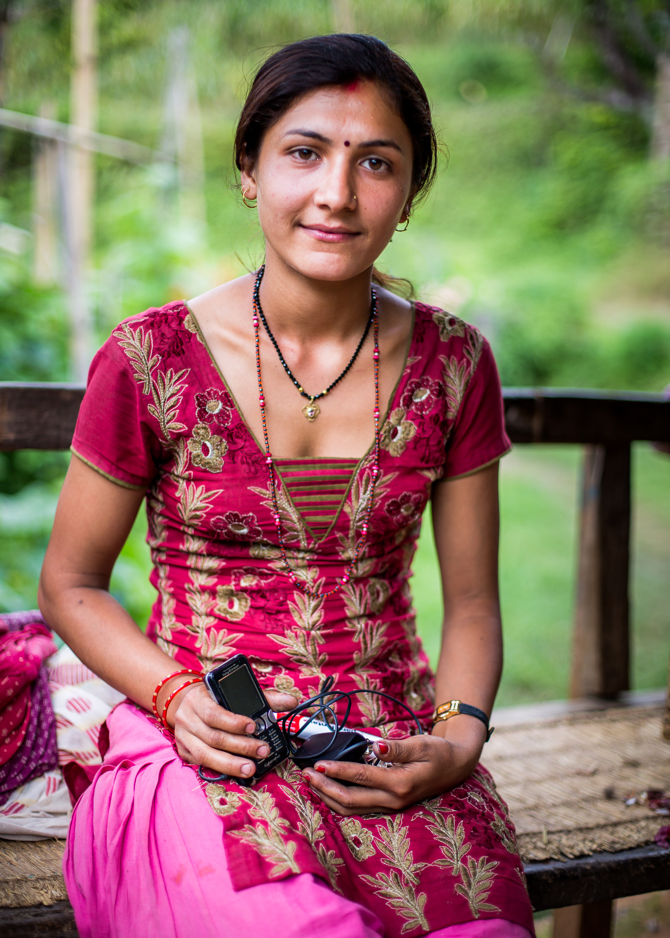 Mother who we gave a used telephone provided by Dutch contacts. Now she could also communicate with family and friends.