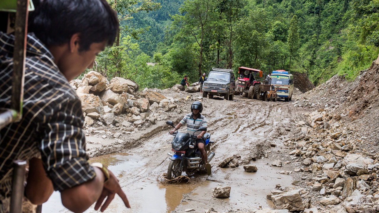 The road from Gorkha to Baluwa was in a terrible condition because of the strong monsoonal rain.