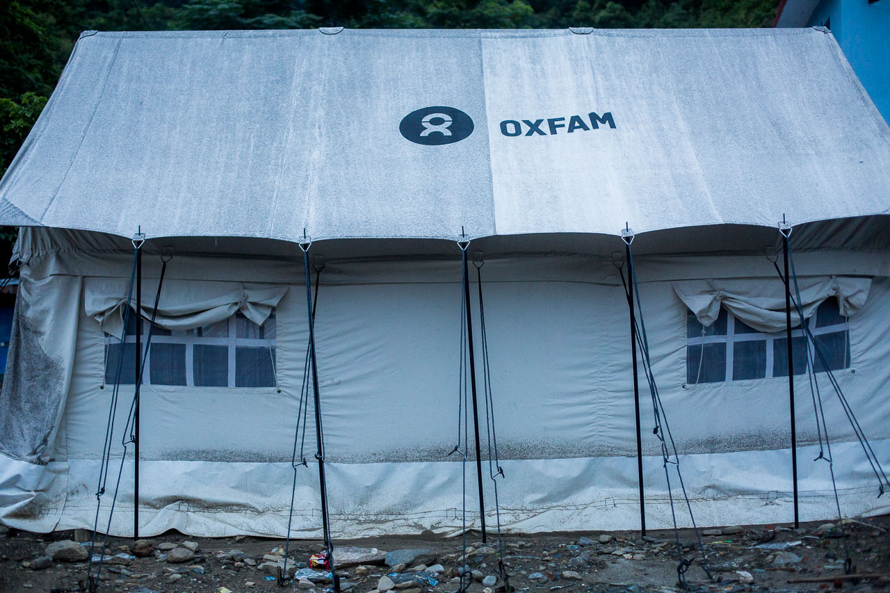 Oxfam provided support to earthquake victims from this tent. When I visited there was no staff anymore but the post remains in case of future earthquakes.