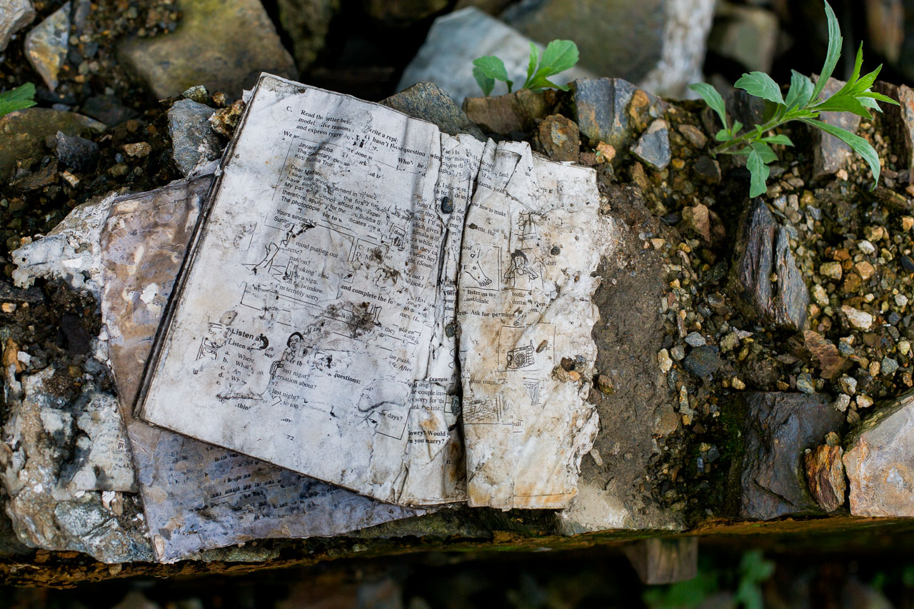 All that remains of the school's precious stock of text books