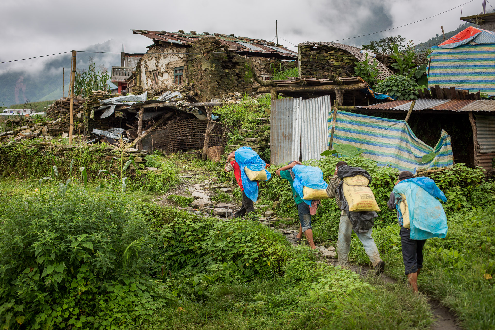 Group of porters carrying cement up to slowly start reconstructing their houses.