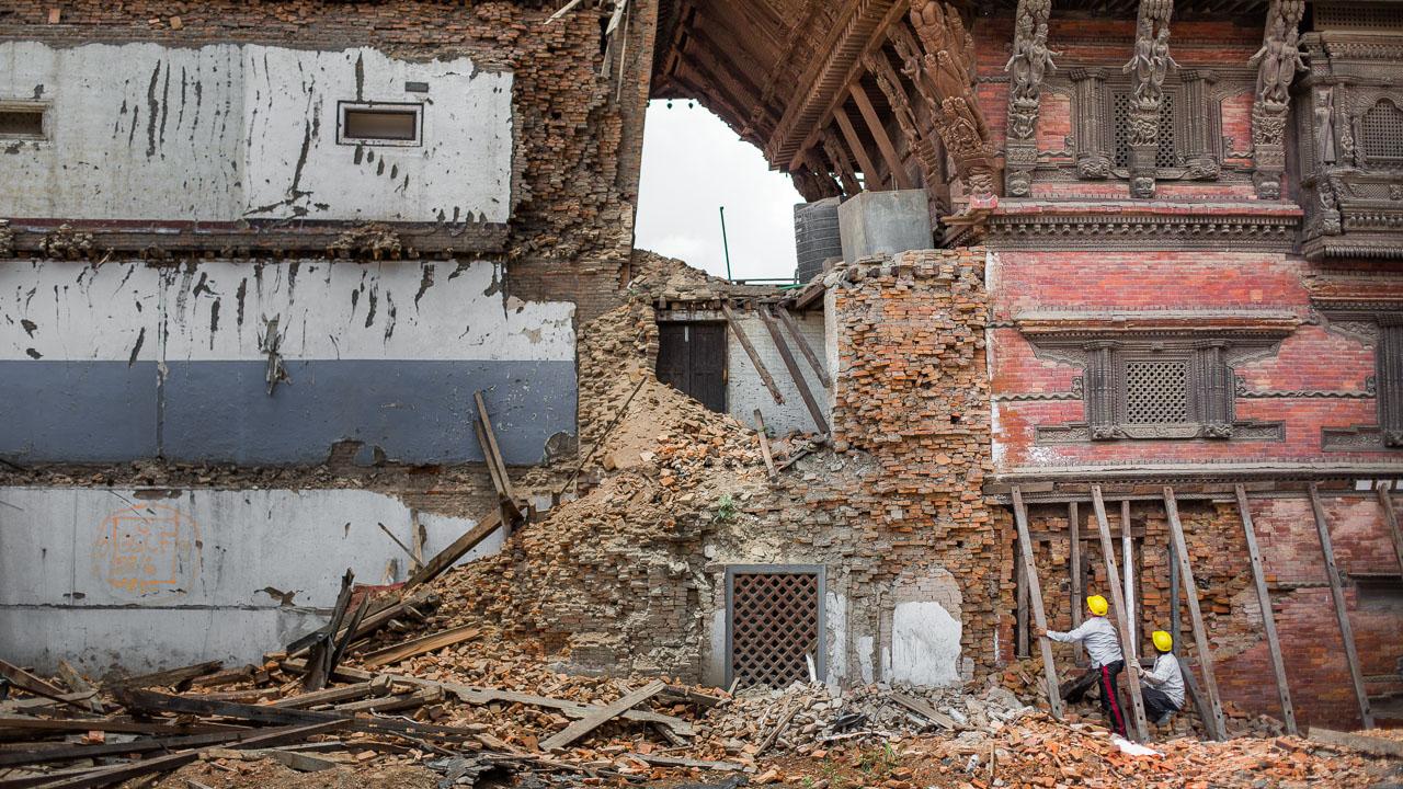 Durbar Square, Kathmandu, Nepal after the earthquake.