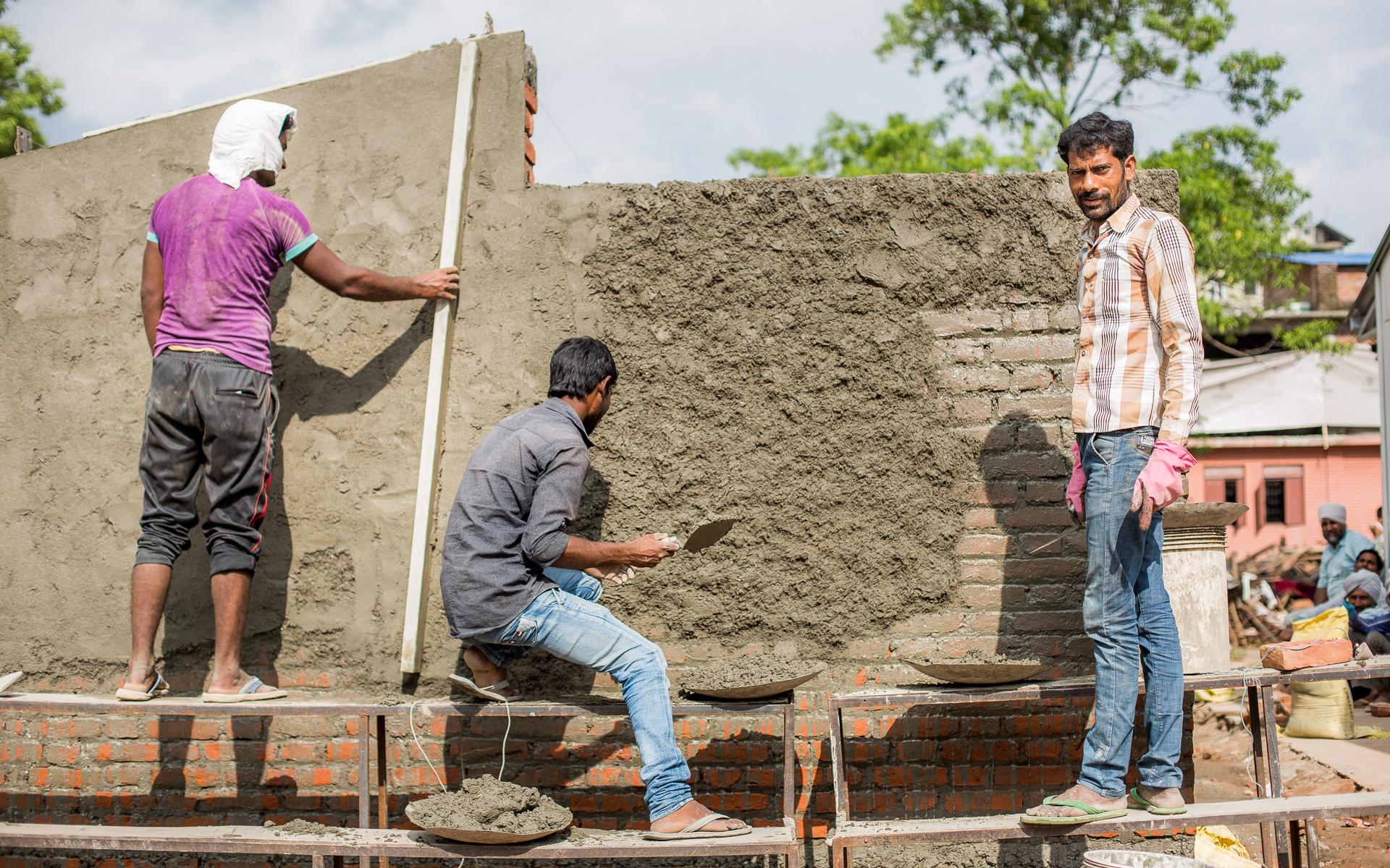 Restoration on walls.