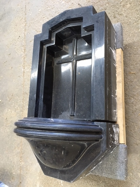 Italian Black Marble Holy Water Font