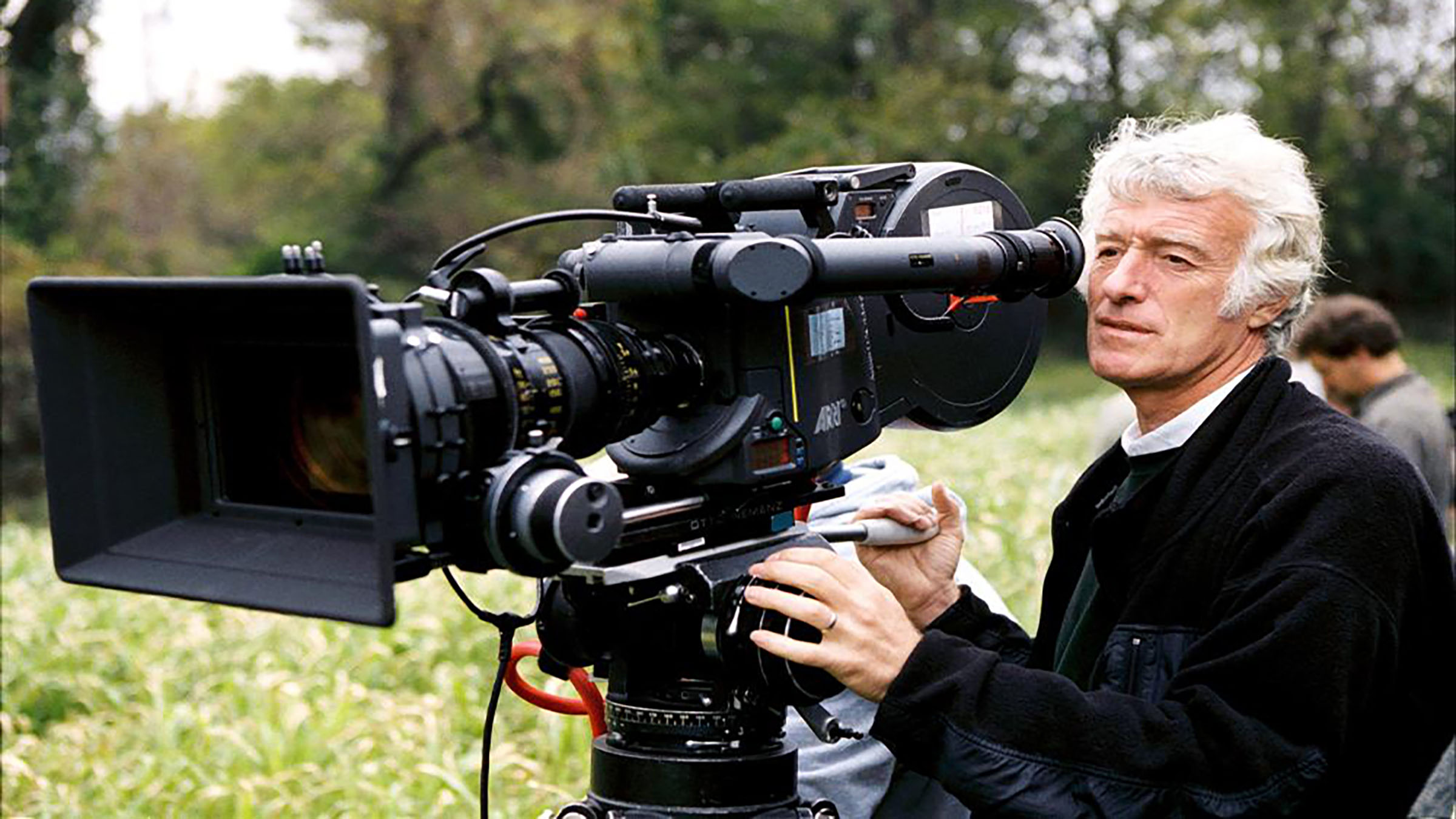 Cinematographer Roger Deakins on set. He's known for Fargo, Blade Runner 2049, and The Assassination of Jesse James by the Coward Robert Ford to name a few.