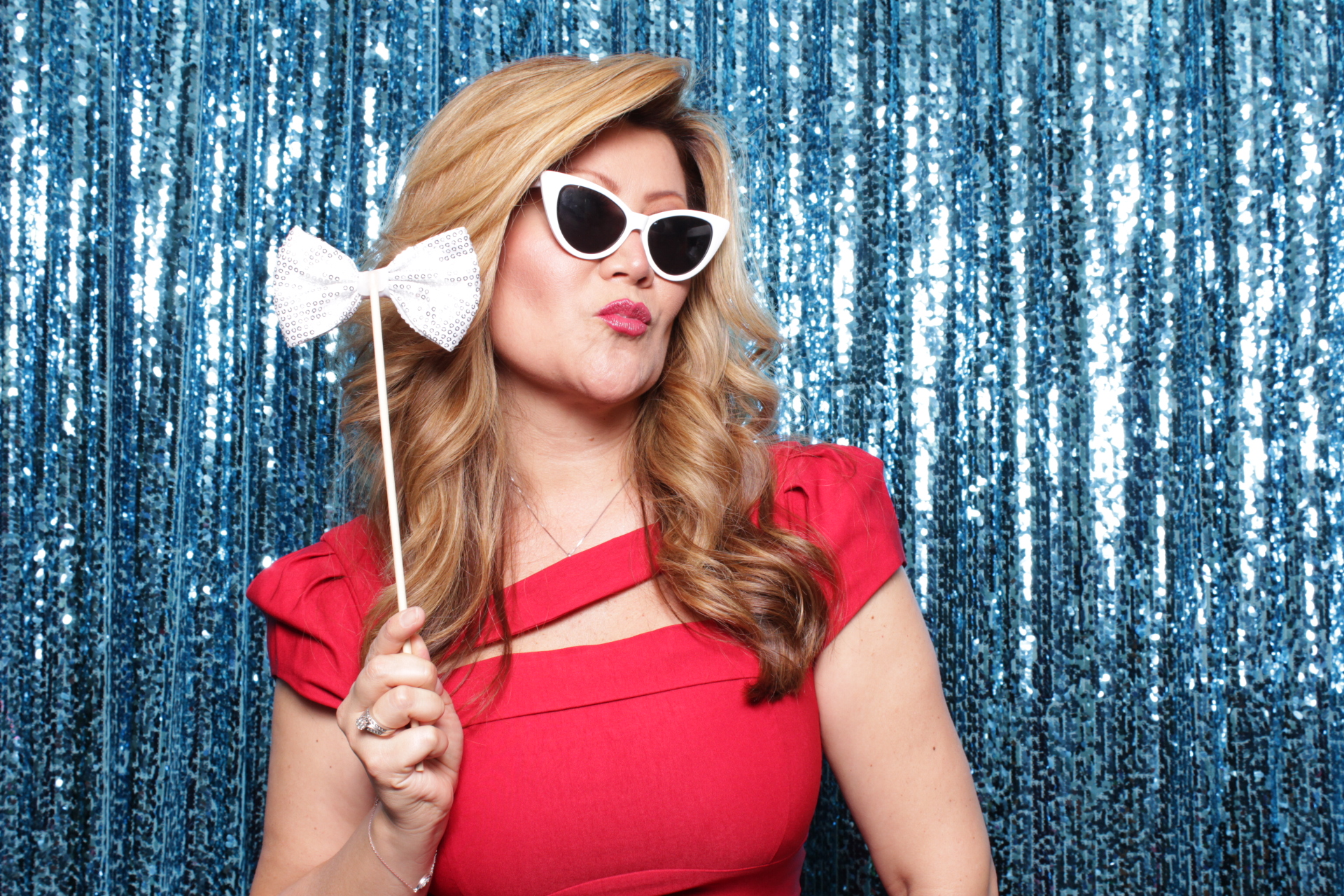 HOT BLUE SEQUINS BACKDROP | HOT PINK PHOTO BOOTH | DC PHOTO BOOTH RENTAL