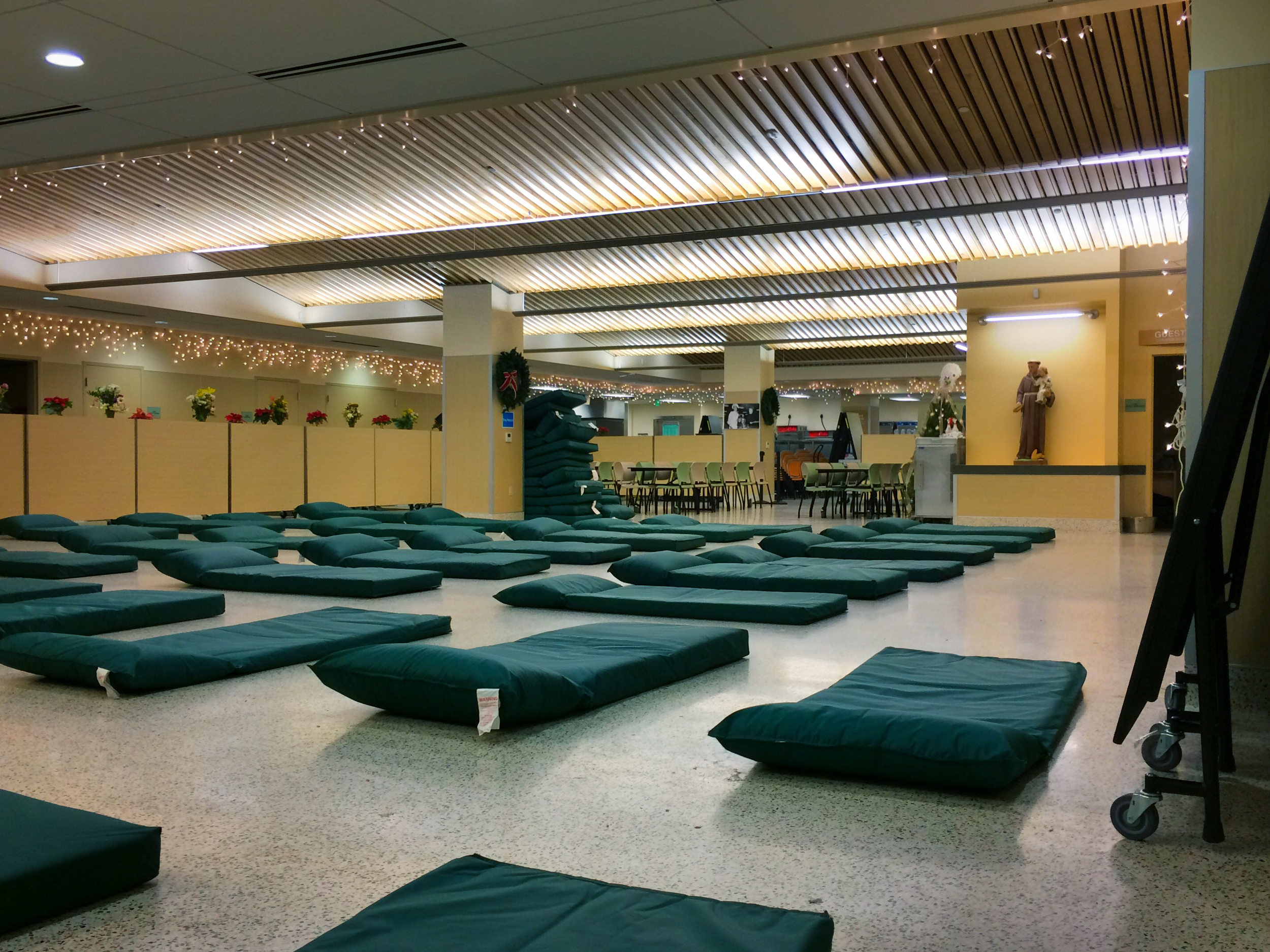 The St. Anthony's Dining Room transformed into an emergency shelter. Photo courtesy of St. Anthony's.