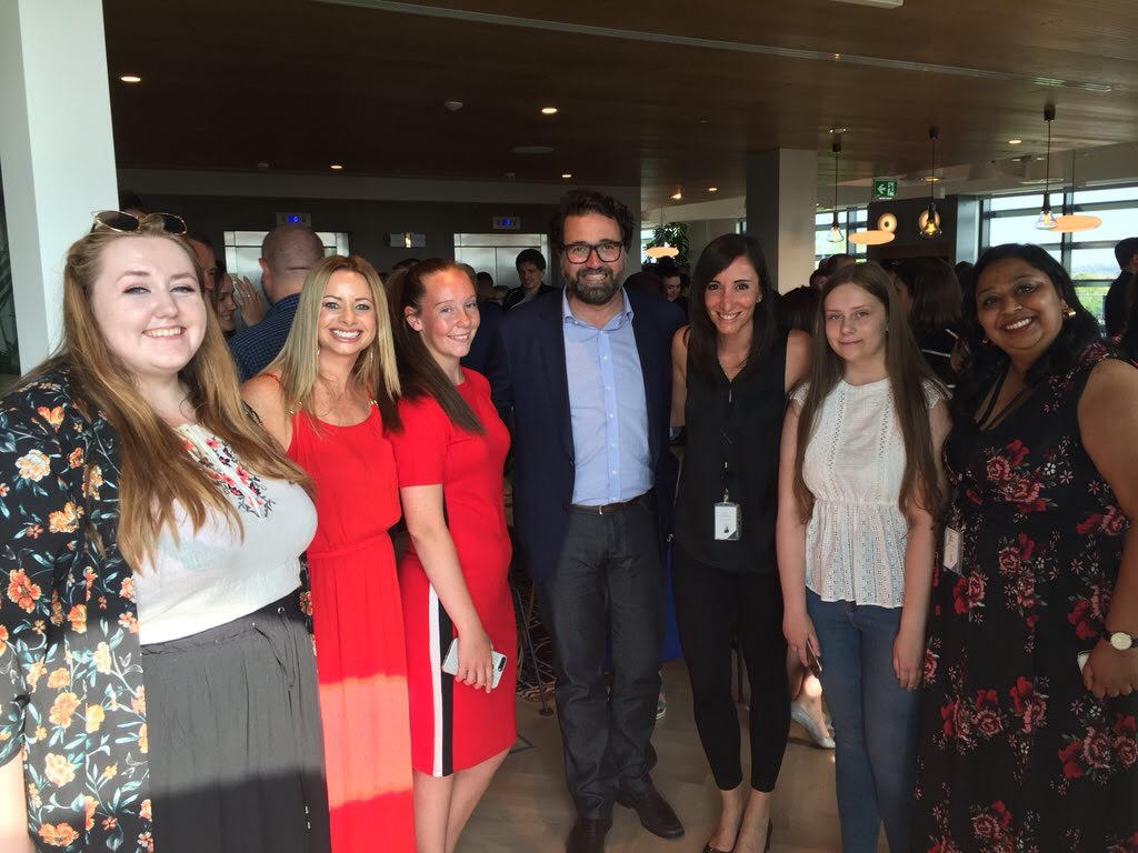 Nikita and Greta with Zendesk staff at our Dublin Office opening.