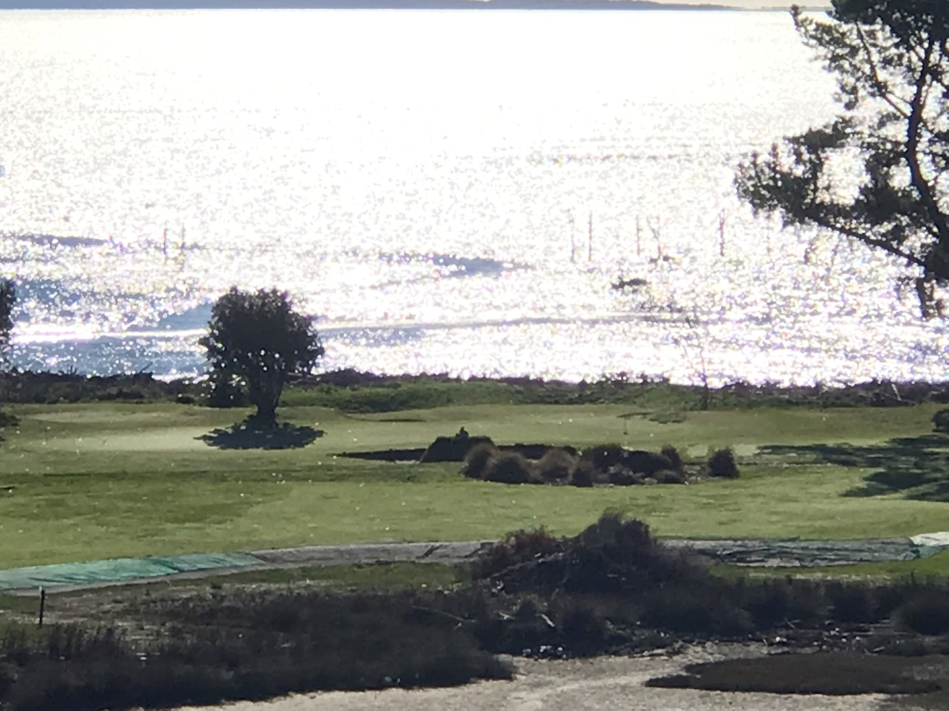 The view from the tee – a 175 metre carry and ~ 200 required to be able to see the green for the second shot.