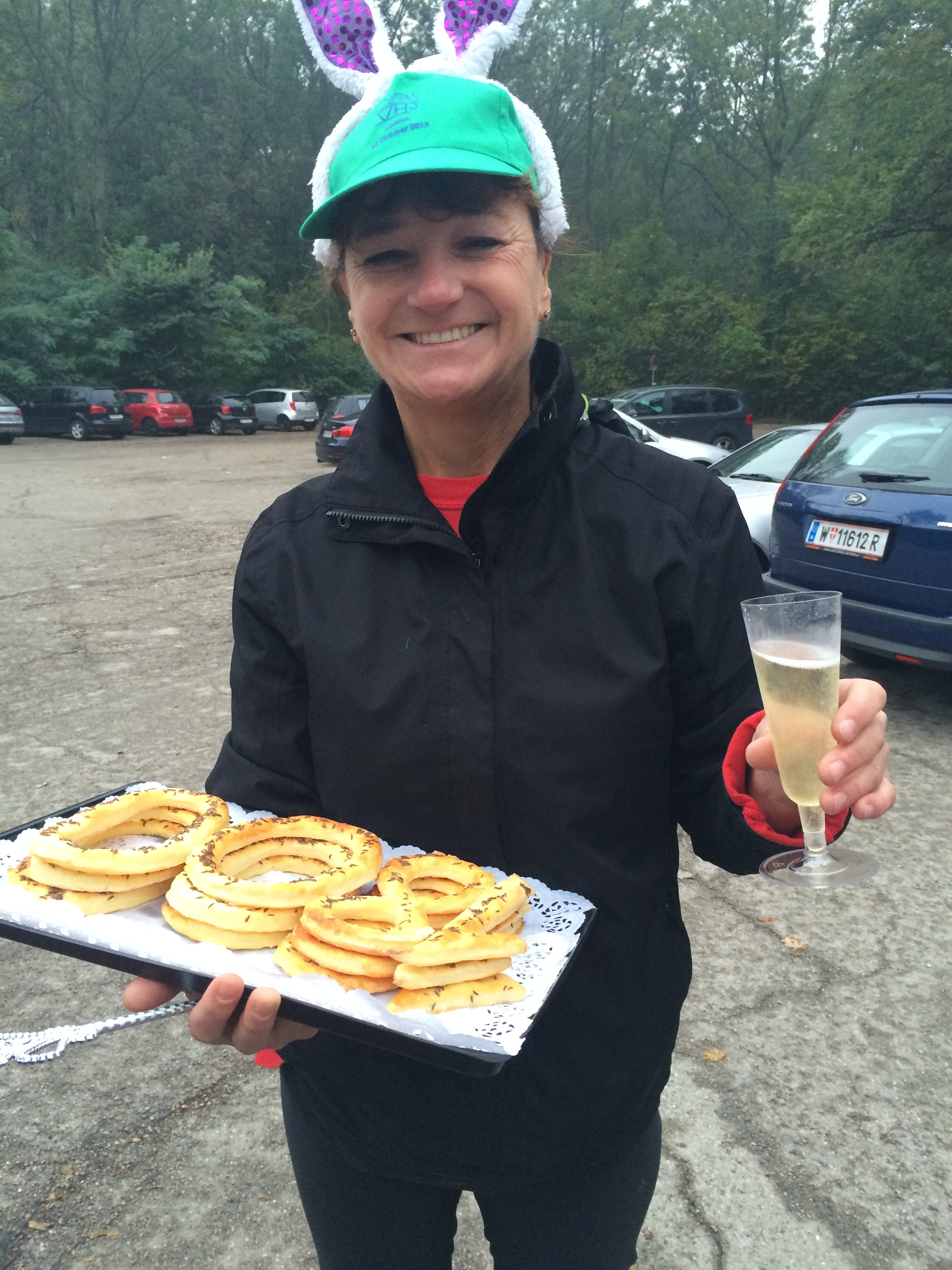 """If you're traveling and want to go for a run with like-minded folks, google Hash House Harriers wherever you are. The Vienna group finishes with Sekt - German sparkling wine - and homemade pastries (it was the 1800th hash run)! The """"on after"""" was at  Die Palette  in Bisamberg - delicious pumpkin everything bistro food."""