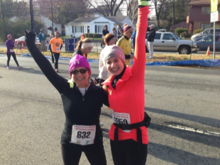 With Mia - The Turkey Chase 10K was a first race for both of us.