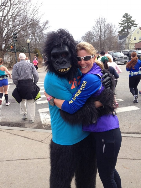 Nothing like a hug from the Heartbreak Hill Running Company's gorilla, during a training run in Boston