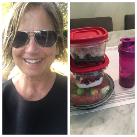 It takes longer in the mornings to do my food prep than it does to get dressed for work. It helps to pair something like this fantastic  Lululemon top  with a black skirt. In the containers I've got a salad with bibb lettuce, avocado, deviled eggs, cucumber, tomatoes, and bell pepper; greek yogurt with berries; steel cut oatmeal with berries; and water flavored with the juice from one lemon, about a teaspoon of agave, and mint leaves. I usually eat breakfast at home, but on mornings when I'm going for a walk instead of a run it's easier to pack and go
