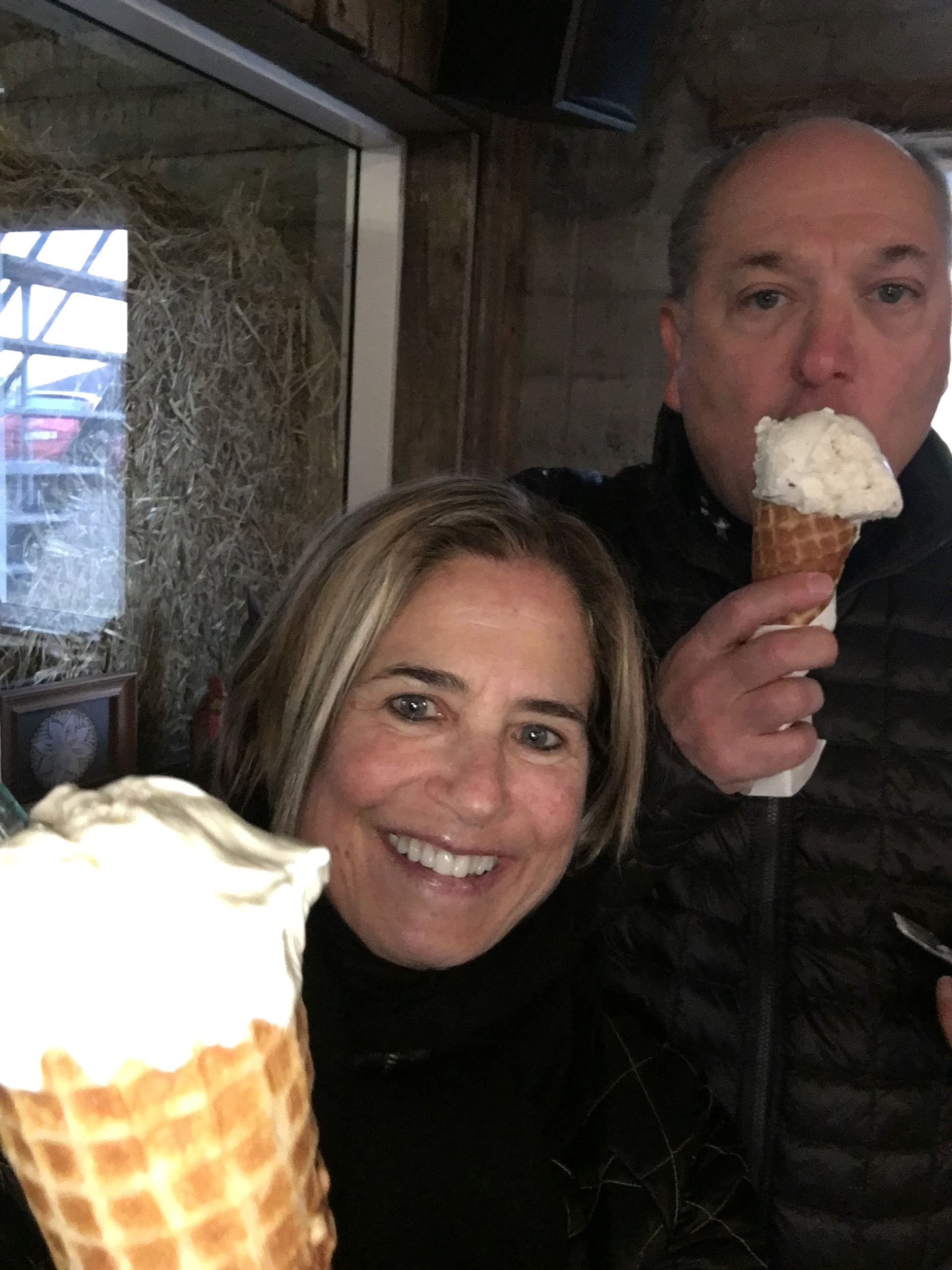 White chocolate ice cream and a handmade waffle cone at  Efstidalur  dairy farm in Bláskógabyggð