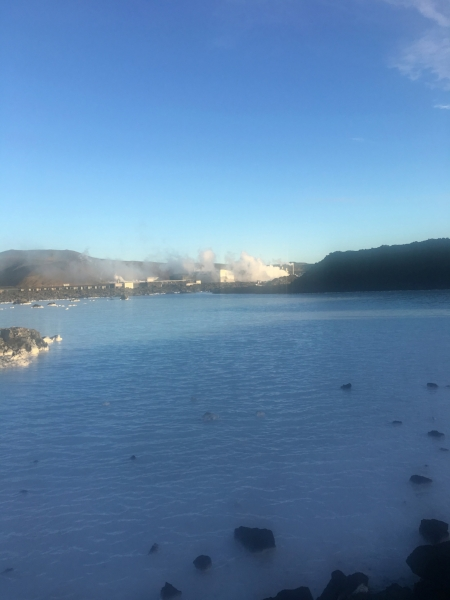 You can see the Svartsengi geothermal power station across from the Blue Lagoon.