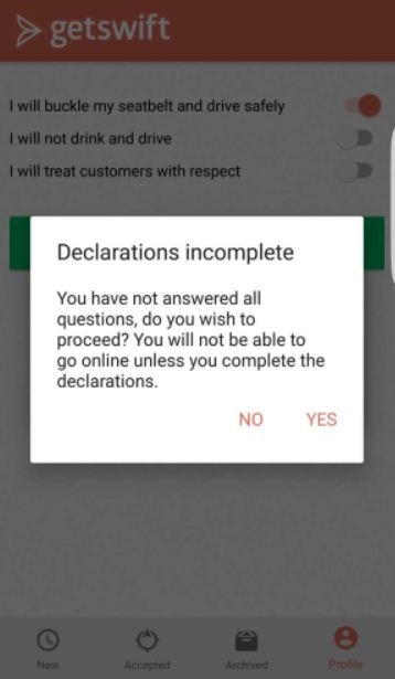 You must agree to  ALL  of the declarations, before going online
