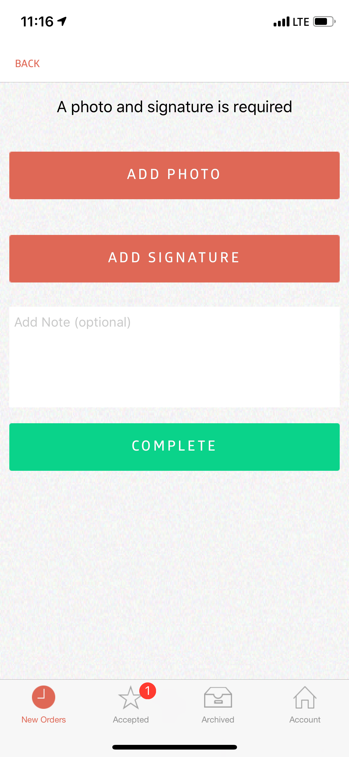 In this example, a Photo AND Signature is required before you can Complete the job