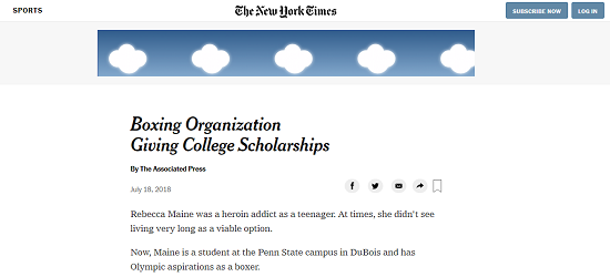 AAIB in The New York Times... - The AAIB received some great press in an article by The New York Times, about scholarship recipient Rebecca Maine, who also shared her inspirational story with us at The 2018 Celebrity Golf Invitational. Read the article here.