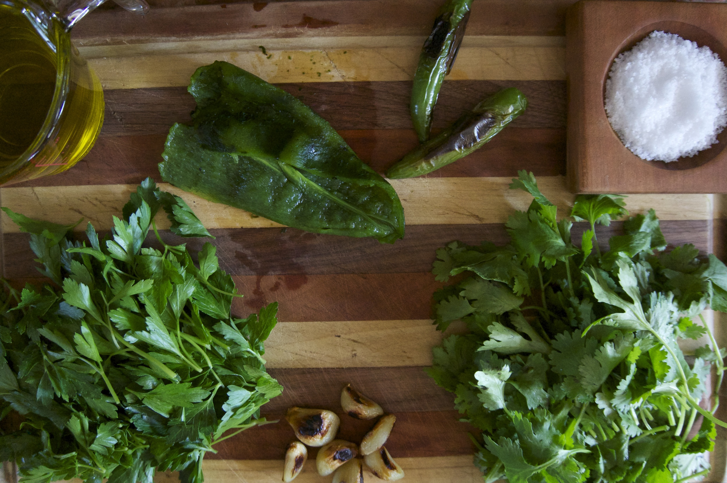 All the ingredients ready to go for a delicious adobo verde.