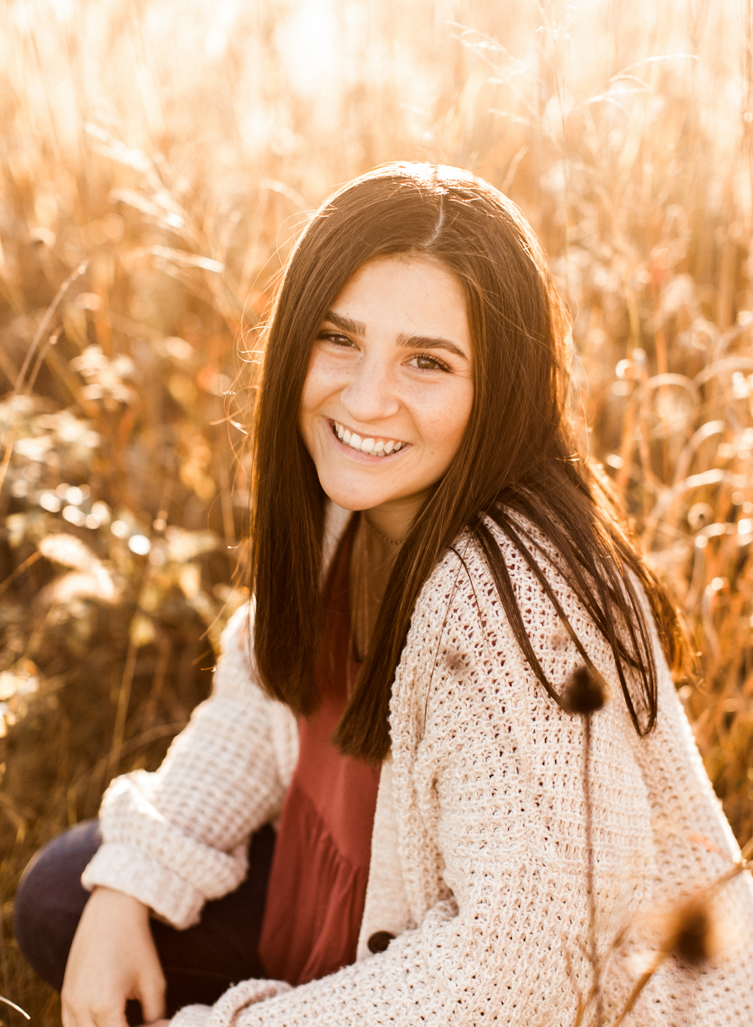 Lafayette Indiana field at sunset senior picture photography