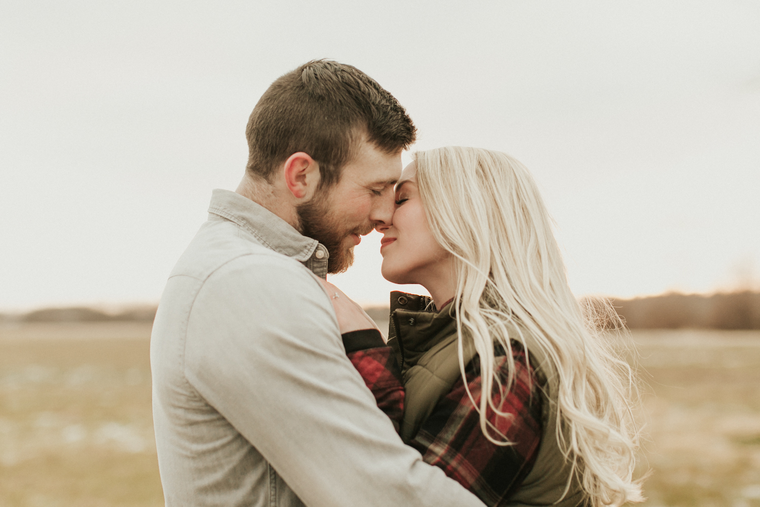 Romantic image of a couple during their outdoor engagement session