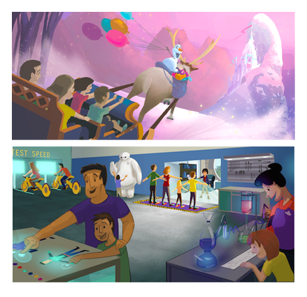 These were collaboration pieces in which I added the color to existing drawings.  -Help guide Sven and Olaf up the mountain before Elsa arrives for her surprise party!  -In the BH6 robotics lab, join the team and assemble your ideal suit by putting your skills to the test!