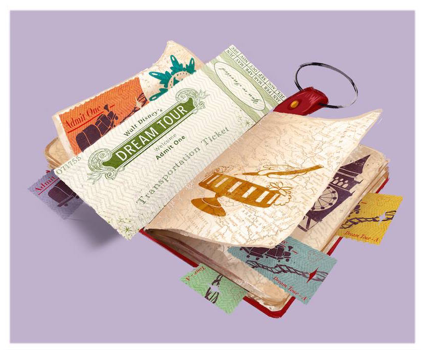 """When the day is done, you'll have your """"Dreamer's Log"""" full of memories. Collect all the stamps and tickets to help you remember your magical experience."""