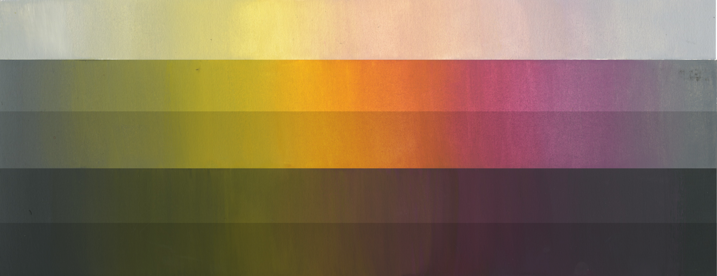 This is a value and saturation scale I made with gouache paint to help me realize the amount of range I have.
