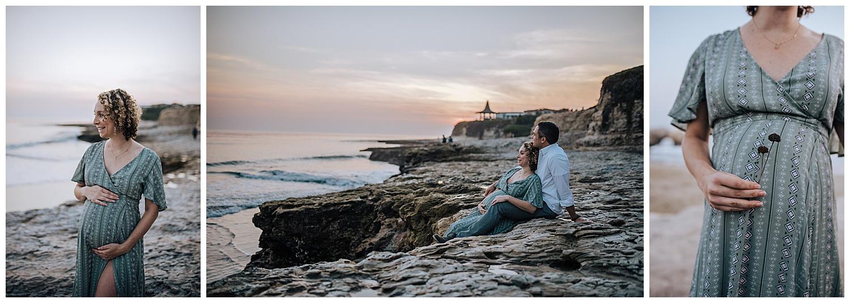 beach maternity session at sunset in santa cruz
