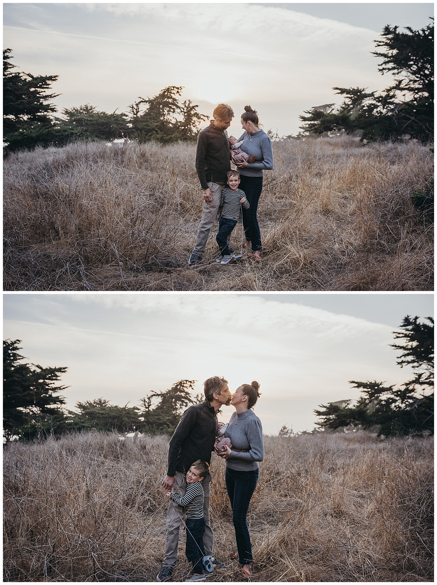 family session at sunset in field