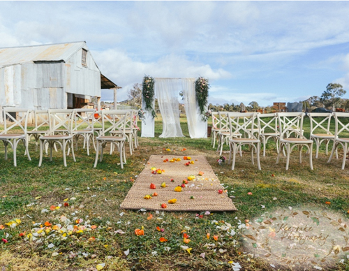 A rustic country Ceremony setup by Style My Aisle. Image Keepsake Photography