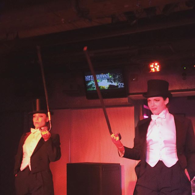 Dapper ladies. Beautiful gents 🎩🐩✨ @dame.perignon & @violettecoquette serving up a new number at tonight's All Tease All Shade  @evowonderlounge Great show (as always) @beau_creep 💋  #ATAS #yegburlesque #TopHats #Pasties