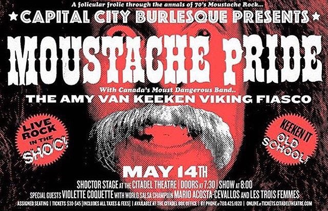 What kind of #moustache would you have??? Come out Saturday for @capitalcityburlesque's Moustache Pride with live music. Starring our very own @chynaboom w/ special guest @violettecoquette.  #burlesque #show #exploreyeg #yeg #yegevents #citdael #theatre #saturday #weekend #plans #dance #glitter #lights #action #seventies #live #music #repost  @capitalcityburlesque