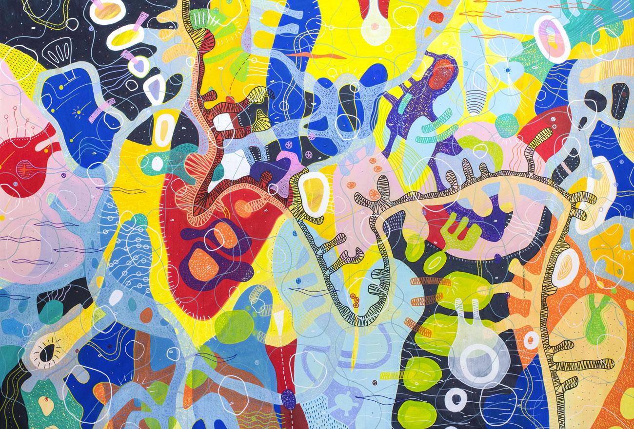 """Acrilico su tela dim. cm 220x150   Il dipinto è stato realizzato in occasione del concorso """"Eter(e)o"""", indetto dallo Spazio 1b in collaborazione con il Pride Lugano. L'opera è stata scelta per una mostra collettiva dal 30 maggio al 30 settembre 2018."""