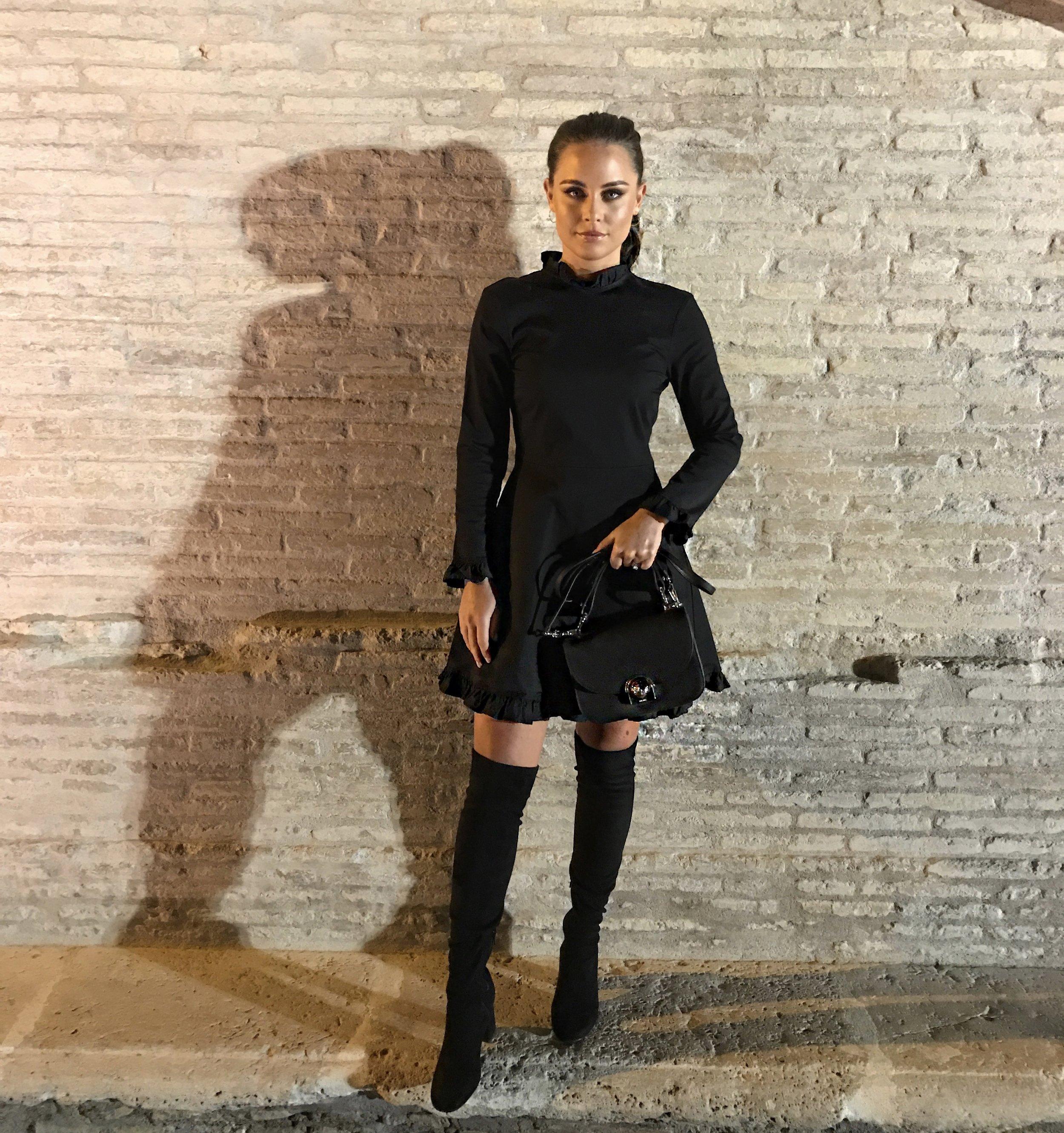 Zara Dress  here , Zara Boots  here , Prada Arcade Bag  here