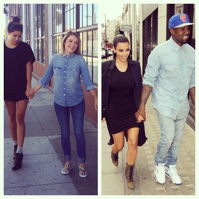 On this day in herstory: 8/26/2014 two idiots walking to lunch decided to take a pic because their outfits reminded them of KimYe. This was the pic that launched 1000(+) likes. Clearly we refined our craft from here... #onthisday #herstory . . In the meantime you can still listen to @saybiblepodcast to get your fix (and follow us on IG) 🎙🎧 . . . And make sure you're registered to #vote. Midterms are around the corner. Tell your friends and family to make sure their registered too. If you live in an area where voters may be intimidated or there are attempts to suppress votes show up and be an advocate @letamericavote @rockthevote @headcountorg