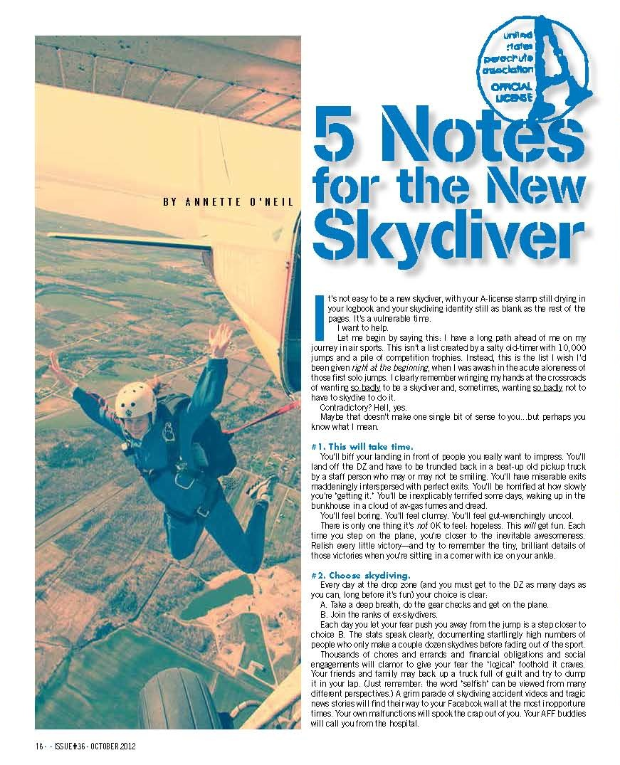 5 Notes for the New Skydiver