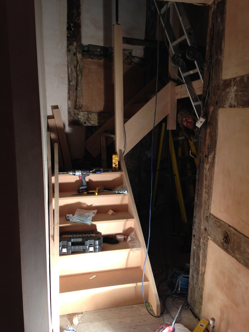 The new staircase starting to get fitted