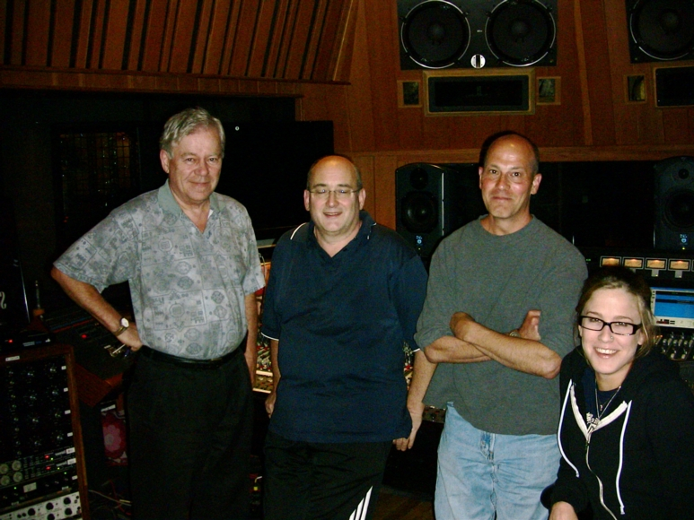 """Eyewitness"" recording sessions at The Village Recorder, Los Angeles  (l-r) Jack Hurley, John Kurlander, Michael Josephs, Vanessa Parr"