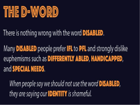 """There is nothing wrong with the word disabled.""  Source: SCREENSHOT: Disability 101 Flashcards #DIS101Cards. A project by @EBTHEN."
