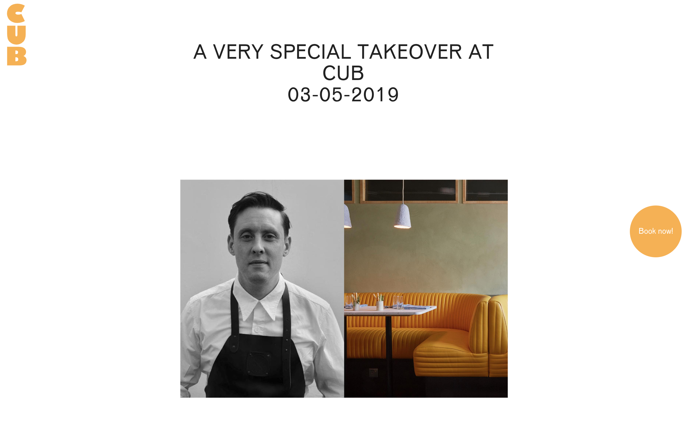 "Cooking at CUB, London - ""Chef Nurdin Topham will be on the pans at Cub for a very special four day takeover from Wednesday 15th May - Saturday 18th May, powered by at Bruichladdich"""